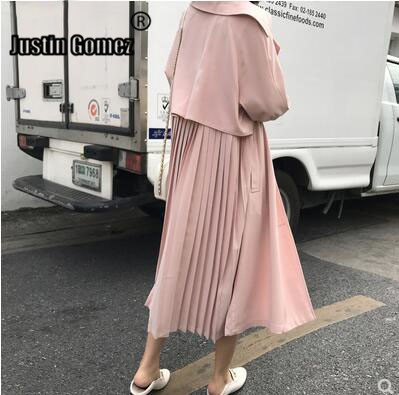 New 2019 Pink Khaki Women Pleated   Trench   Coat casual Loose Patchwork Long Windbreaker oversized Women Overcoat