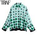 ONKOGENE Frauen Mode Geometrische Drucken Lose Asymmetrische Blusen Vintage Langarm Button-up Weibliche Shirts Blusa Chic Tops