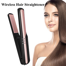цены USB Rechargeable Hair Straightener Flat Iron Mini Wireless Hair Curler Cordless Ceramic Hair Straightening Curling Hair Styler