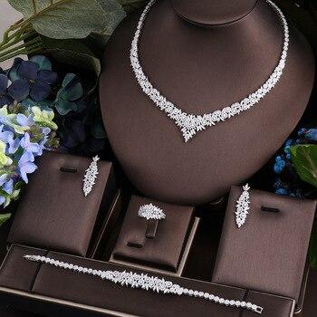 Janekelly 4pcs Bridal Zirconia Full Jewelry Sets For Women Party Luxury Dubai Nigeria CZ Crystal