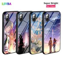 Black Cover Anime Your Name for iPhone X XR XS Max 8 7 6 6S Plus 5S 5 SE Super Bright Glossy Phone Case