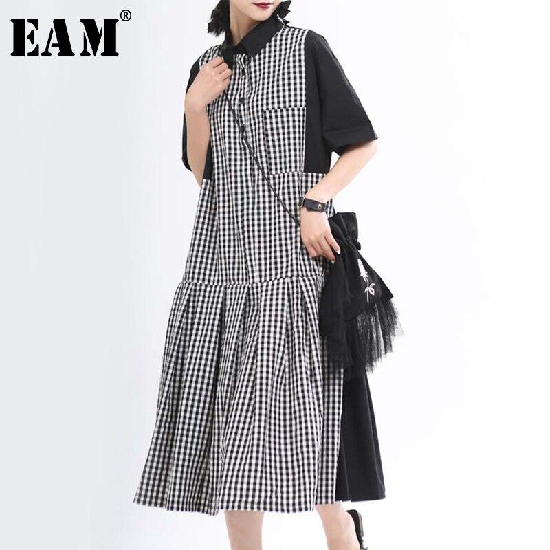 [EAM] Women Black Plaid Split Big Size Shirt Dress New Lapel Short Sleeve Loose Fit Fashion Tide Spring Summer 2020 1T655