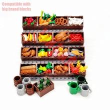 Full Set DIY Toys Compatible Building Blocks MOC Parts for Creative Mini Food Display Fruit Bread Turkey Bricks Accessories