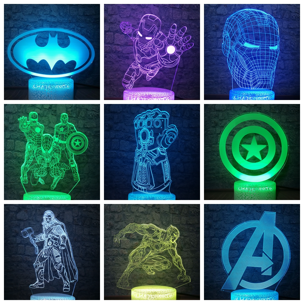 The Avengers Marvel Comics Fly Iron Man Batman DC Logo Symbol  3D LED Night Light Desk Lamp Multicolor RGB Home Decor Kids Gift