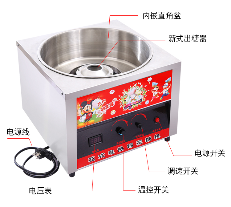 H6154167e533f4061892a06c37fe077f7y - Cotton Candy Machine Business Fully Automatic Electric Heating Cotton Candy Machine Colored Fancy Brushed Marshmallow