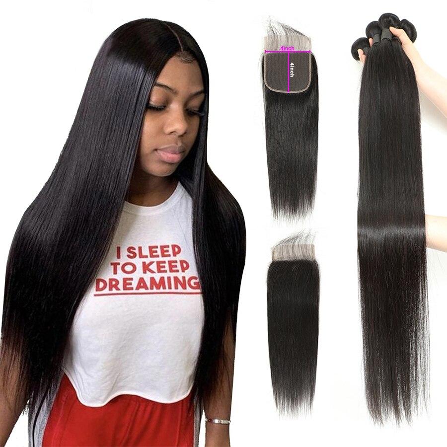 Пряпряди с застежкой, бразильские волосы, пупряди с застежкой, человеческие волосы hoho, пряди с 4x4 кружевными застежками