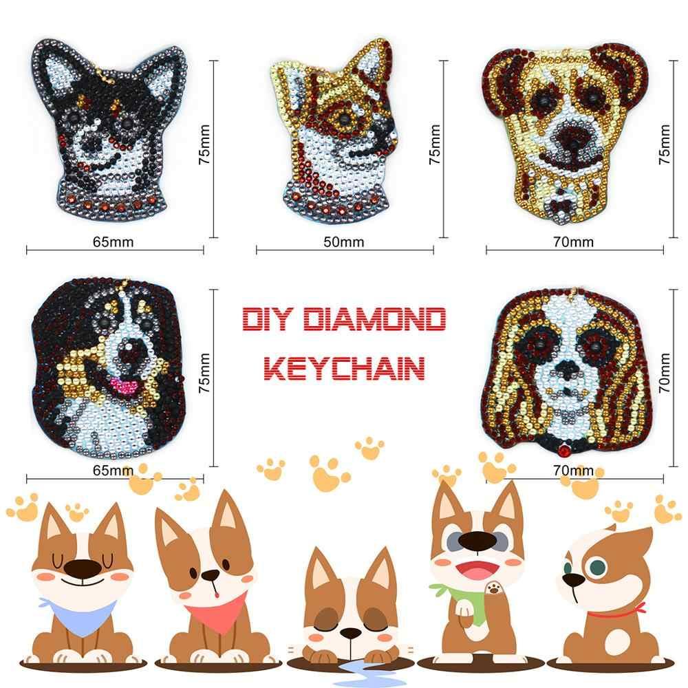 Gorąca sprzedaż Diy diament zwierzęcy malowanie brelok 5 sztuk brelok pies Corgi Husky projekt torba wiszący ornament breloczek HK11