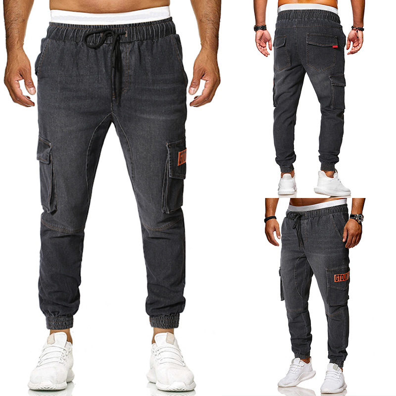 2019 Four Seasons Versatile Men Casual Jeans Loose-Fit Labeling Multi-pockets Retro Youth Ankle Banded Pants