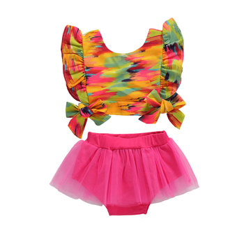 Infant Girl Fashion Summer Clothes Colorful Ruffle Trim Sleeve Bowknot Crop Tank Mesh Shorts Clothes Sets 0-12 Months