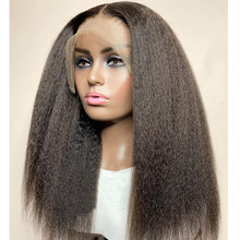 Swiss Lace Kinky Straight Synthetic Lace Front Wig Glueless Highlihts Natural Futura Hair Yaki With Baby Hair For Black Women