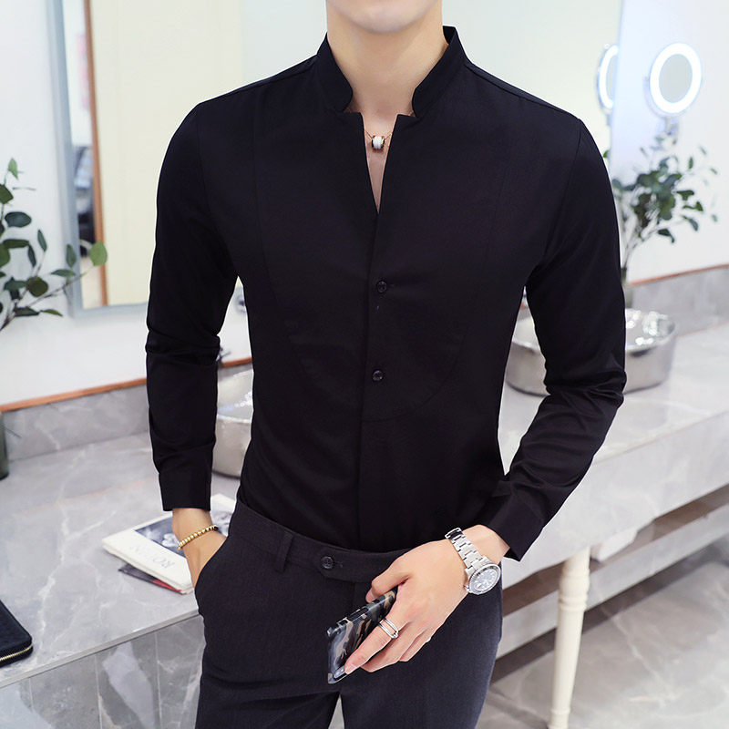 2019 Autumn Men's Stand Collar Casual Shirt Masculina Boutique Long-Sleeved Slim Men's Solid Color Business Dress Shirt Size 5XL