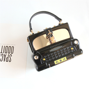 Image 3 - אופנה שחור רכב צורת אקריליק תיבת צורת נשים תיק כתף תיק ארנק Crossbody תיק נשי מסיבת מצמד תיק מעצב תיק