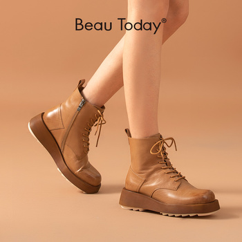 BeauToday Ankle Women Boots Calfskin Genuine Leather Chunky Boots Waxing Round Toe Lace Up Zip Women Shoes Handmade 03483 beautoday fashion ankle boots women calfskin leather round toe front zipper closure autumn winter lady shoes handmade 03808