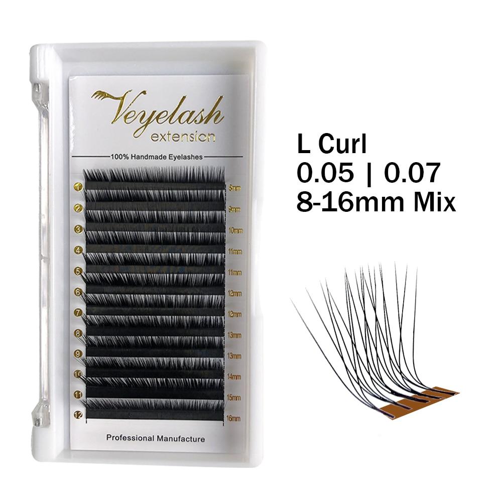 Viplash L Curl  Individual Eyelash Extensions Korean PBT Silk Lashes Russian Volume Mink Eyelash For Makeup Soft Eyelashes
