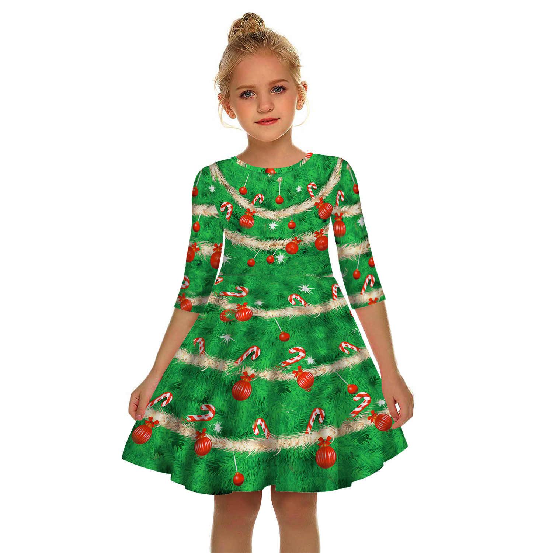 Vestido De Navidad Para Adolescentes Vestido De Niña De Media Manga árbol De Navidad 3d Estampado Niños Vestido Para Niñas De 10 A 12 Años Vestidos De