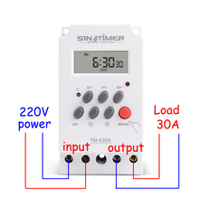 30amp 220 فولت التيار المتناوب جهاز توقيت رقمي صغير 7 أيام للبرمجة الوقت التتابع شحن مجاني