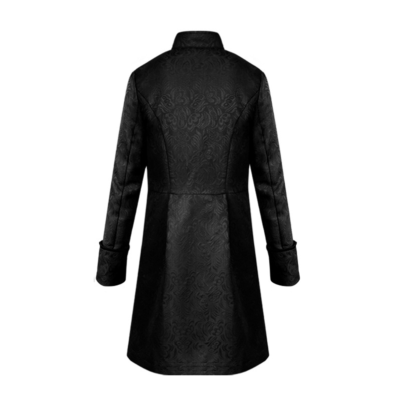 H615503baecf9468094b18d1adf4de4daC Men Steampunk Military Vintage Coat Stand Collar Single Breasted Solid Gothic Jackets Male Long Sleeve Slim Clothes Outerwear