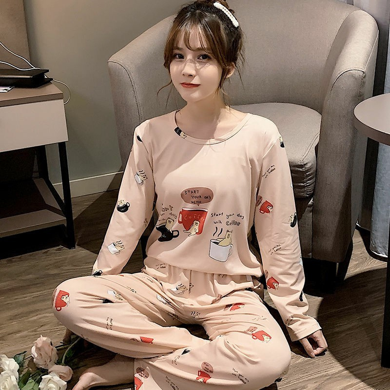 Women Pajamas Set Winter Cartoon Clothes For Girls Pyjamas Plus Size M-5XL Long Sleeve Pyjama Femme Sleepwear Suit