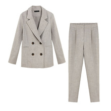 Casual women's suits pants suit 2019 autumn new temperament double-breasted blazer Slim trousers high quality Two-piece sets