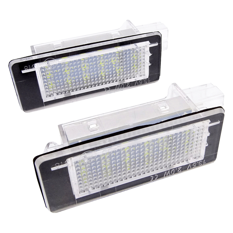 2 Pcs 18SMD <font><b>LED</b></font> Number License Plate Light for <font><b>Renault</b></font> Espace IV Scenic II III Laguna Fluence Captur <font><b>Modus</b></font> FL Dacia Duster Lodgy image