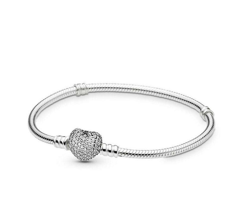 Pave Heart Shape Buckle Snake Chain Bracelet DIY Beads Bracelet Fit Original Pandora Charm Women Fashion Bracelet Pulseras