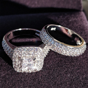 Moonso trendy Luxury 925 Sterling Silver Wedding Ring Set band for bridal girls and Women ladys love couple pair jewelry R3400(China)