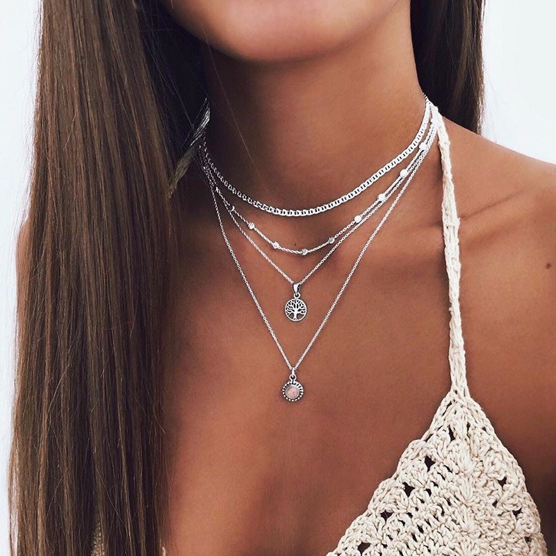 Necklace Women Tree Necklaces Woman Jewelry Crystal Chain Couples Silver Color Classic High Quality Alloy Multilayer Collares