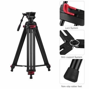 Image 4 - Andoer professionnel photographie trépied support Aluminium fluide hydraulique bol tête pour Canon Nikon Sony DSLR appareils photo