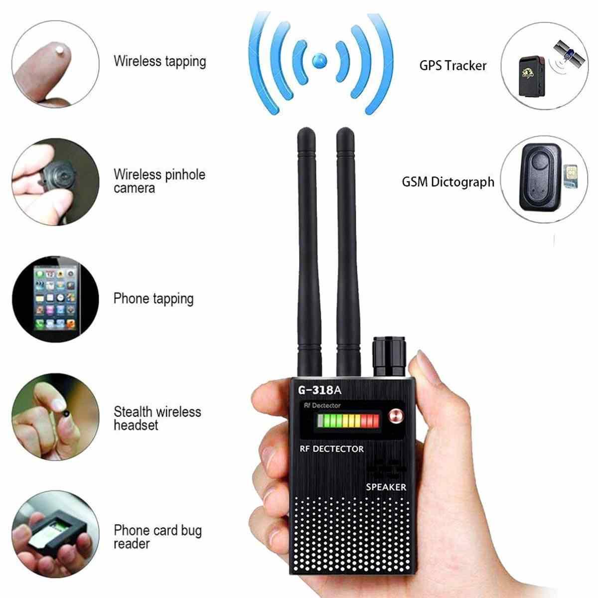 G318 أسود متعدد الوظائف لتحديد المواقع كاشف GSM الصوت علة مكتشف RF-المقتفي RF كاشف مكافحة التنصت مكافحة التجسس