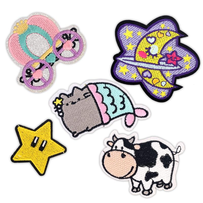 Детские железные нашивки для одежды, нашивки с вышивкой, наклейки для аппликаций, нашивки на одежду, милые Мультяшные нашивки с коровой, луной, звездой, котом Заплатки      АлиЭкспресс