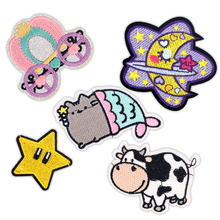 Children Kids Iron on Patches for Clothing Embroidery Badges Applique Stickers on Clothes Patch Cartoon Cute Cow Moon Star Cat