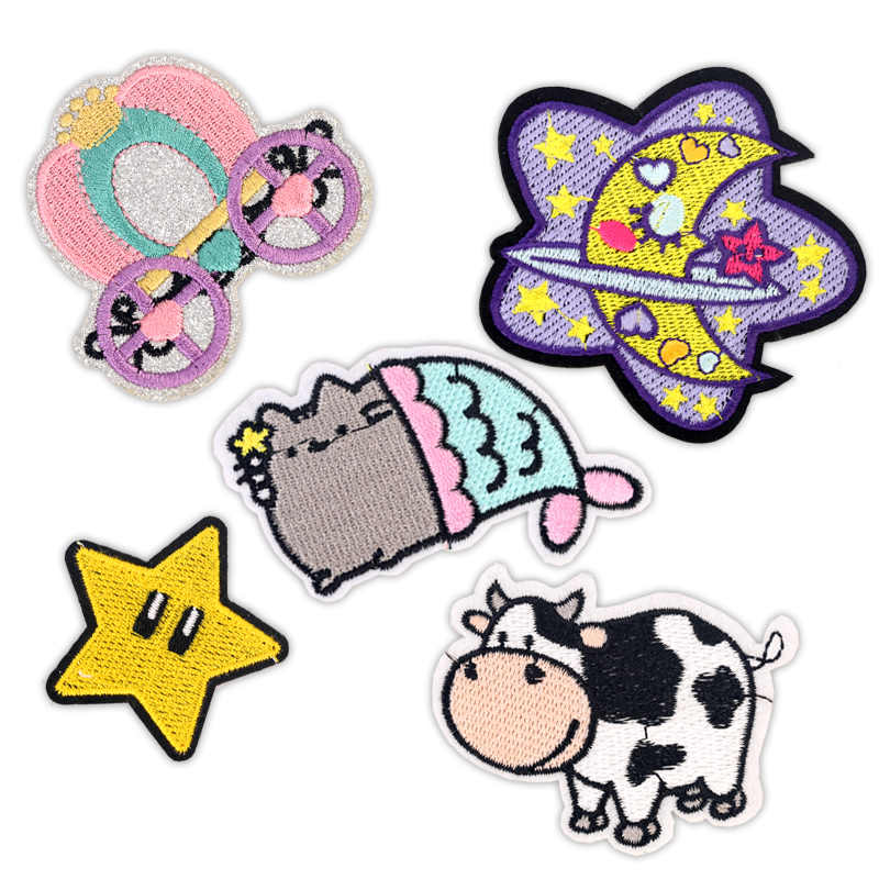 Niños parches de hierro en la ropa insignias de bordado pegatinas de aplicación en parche para ropa dibujos animados Linda vaca Luna Star Cat