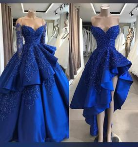Image 3 - Ball Gown Long Sleeve Royal Blue Prom Dresses with Detachable Skirt Luxury Beaded Chic Long Evening Dress Special Occasion Gowns