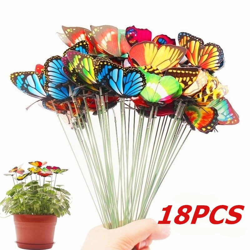 Set di 18 Pcs Artificiale Butterfly Garden Yard Fioriera Colorato Stravagante Farfalla Stakes Decoracion Decorazione Esterna