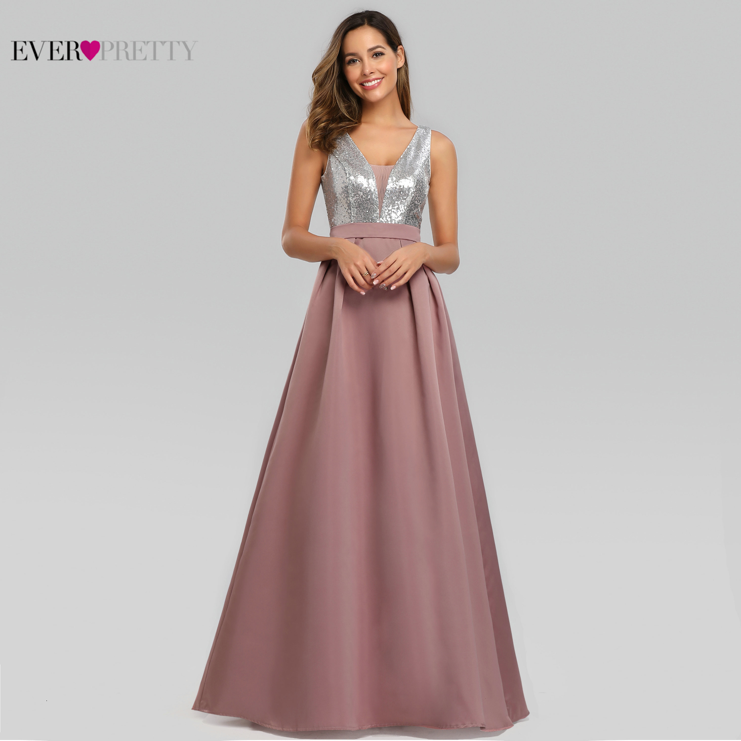 New Elegant A Line V Neck Long Prom Dresses Vestido De Festa Ever Pretty Sexy Backless Sequined Wedding Party Gowns Satin 2020
