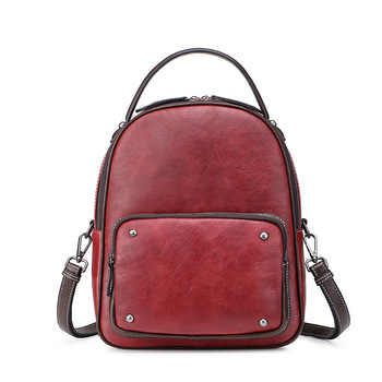 Nesitu Highend New Cusual Vintage Daily Black Coffee Red Genuine Leather Women's Backpack Female Girl Lady Travel Bag M80068