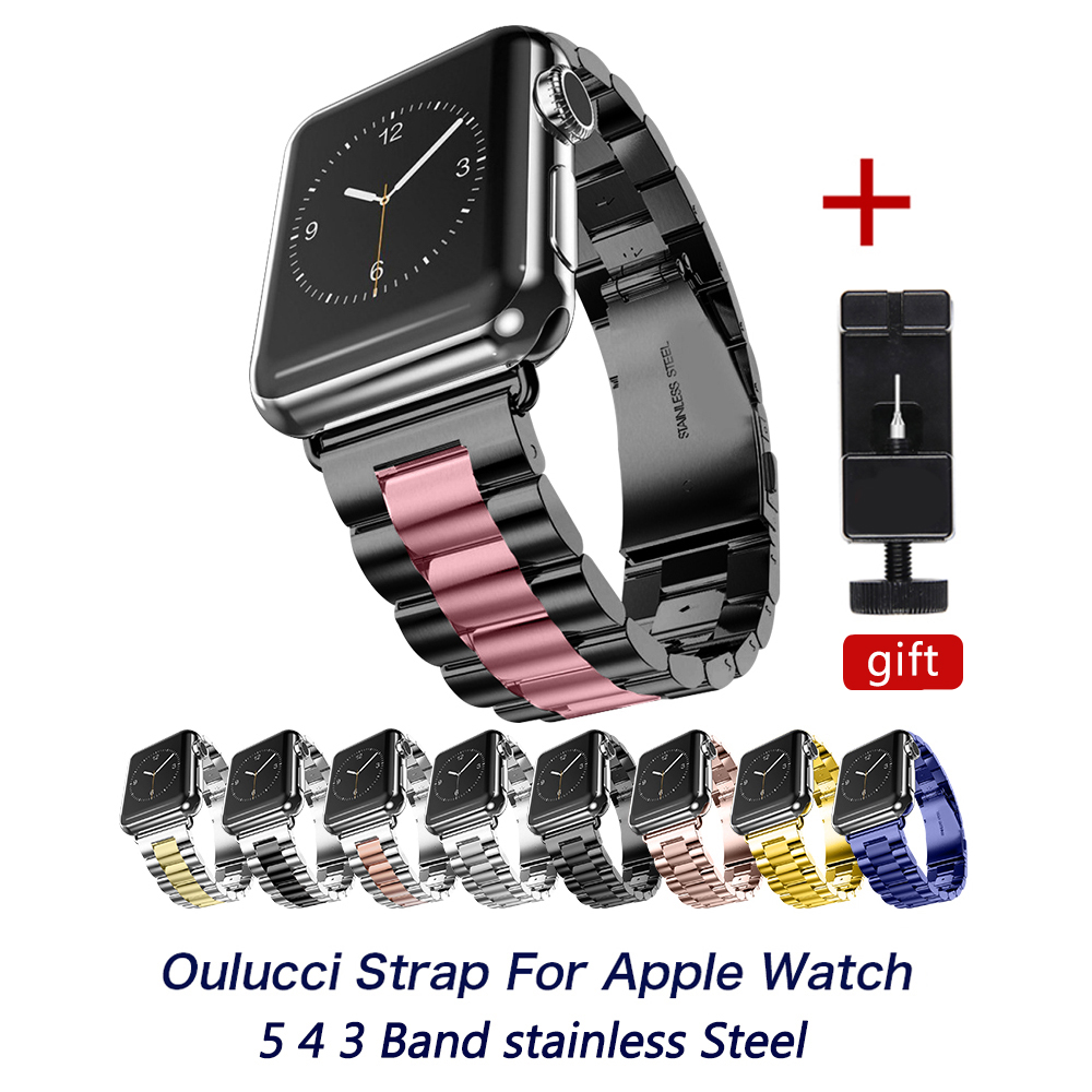 Luxury Stainless Steel Metal Band Strap for Apple Watch 4/3/2/1/5 42/40/38/44mm Bracelet Wrist Watchbands for iWatch Accessories image