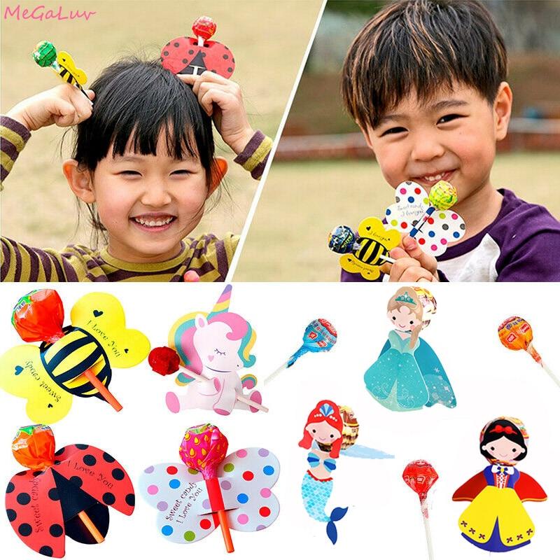 Tarjeta De Decoración Lollipop animal Candy Boda suministros Cumpleaños Fiesta Decoración 50 un