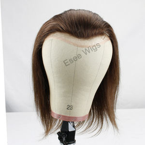 """Image 4 - 12"""" Long Hair Mens Toupee 100% Virgin Human Hair Hairpiece Mono Lace with PU Replacement for Men wig Straight 10""""x8"""" Base Size"""