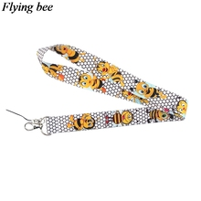 Flyingbee Creative bees Keychain Cartoon Cute Phone Lanyard Women Fashion Strap Neck Lanyards for ID Card Phone Keys X0622