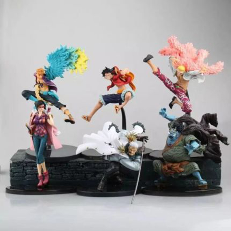 15cm <font><b>One</b></font> <font><b>Piece</b></font> <font><b>Luffy</b></font> Jinbe Donquixote Doflamingo Marco Tashigi Smoker Action Figure Anime PVC New Collection Figures Toys image