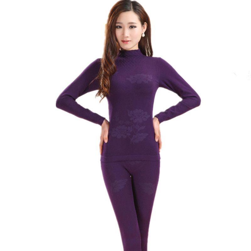 Sweet Turtleneck Warm Suit For Women Thermal Underwear Fashion Slim Basic Second Female Thermal Skin Printed Winter Long Johns