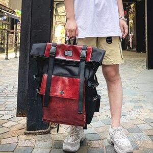 Image 2 - レトロユニセックスバックパック大容量puレザー高品質bagpack観光ユース多機能バッグイングランドスタイル