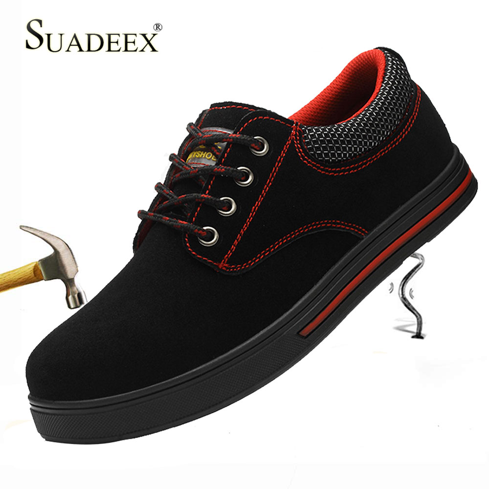 SUADEEX Men's Safety Shoes Steel Toe Construction Protective Footwear Lightweight Shockproof Work Sneaker Shoes For Men Women