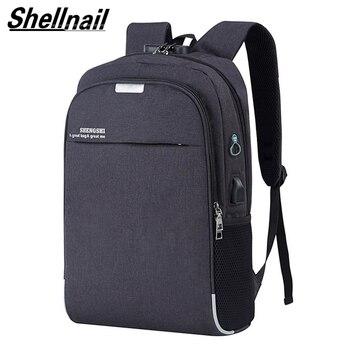 Shellnail bolsa impermeable para Laptop mochila de viaje de Multi función Anti-robo bolsa para hombres PC mochila de carga USB para Macbook IPAD