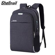 Shellnail 방수 노트북 가방 여행 배낭 멀티 기능 안티 절도 가방 남자 pc 배낭 usb 충전 맥북 ipad