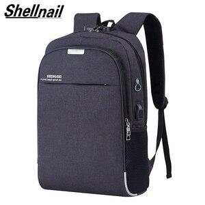Image 1 - Shellnail wodoodporna torba na laptop podróży plecak wielofunkcyjny torba antykradzieżowa dla mężczyzn PC plecak kabel USB do ładowania dla Macbook IPAD