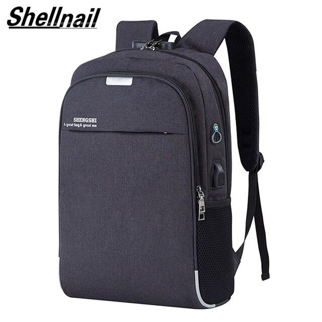 Shellnail wodoodporna torba na laptop podróży plecak wielofunkcyjny torba antykradzieżowa dla mężczyzn PC plecak kabel USB do ładowania dla Macbook IPAD