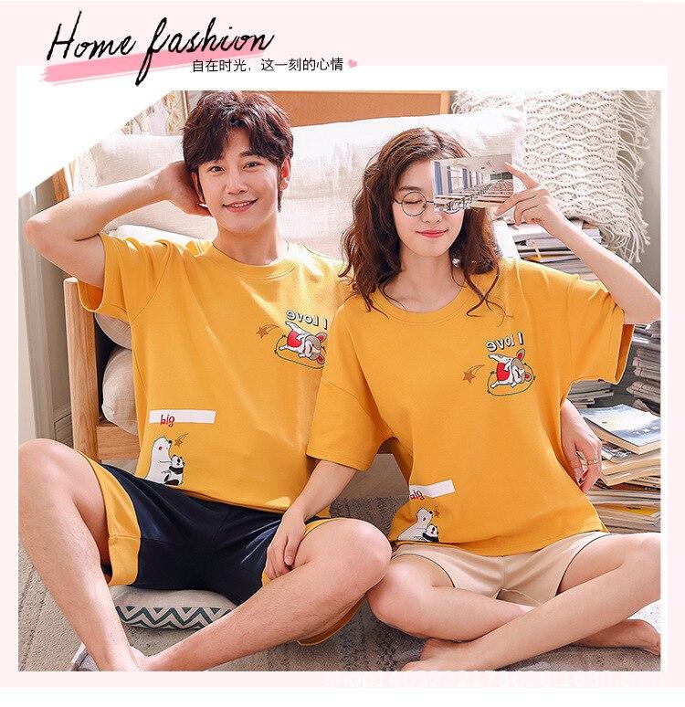 Summer Comfortable Pure Cotton Thin Couples Pajamas Cotton Men's WOMEN'S Short-sleeved Clothes Shorts Homewear Set