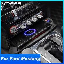 Vtear carro qi carregador sem fio para ford mustang acessórios 2016-2021 modificação interior 15w telefone rápido placa de carregamento